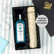 Bombay Sapphire Gin and Original Newspaper